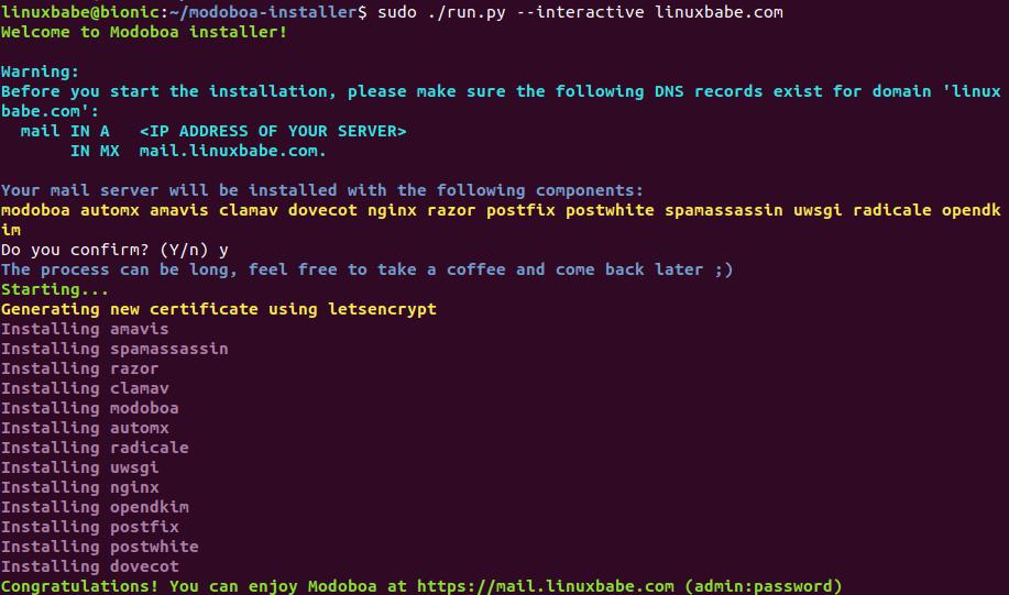 install modoboa ubuntu