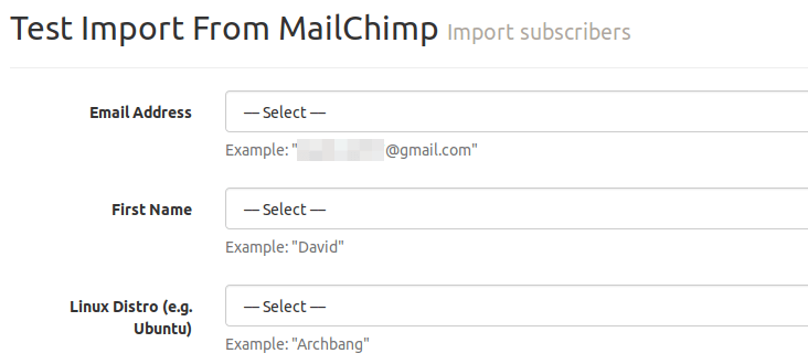 match fields mailchimp mailtrain
