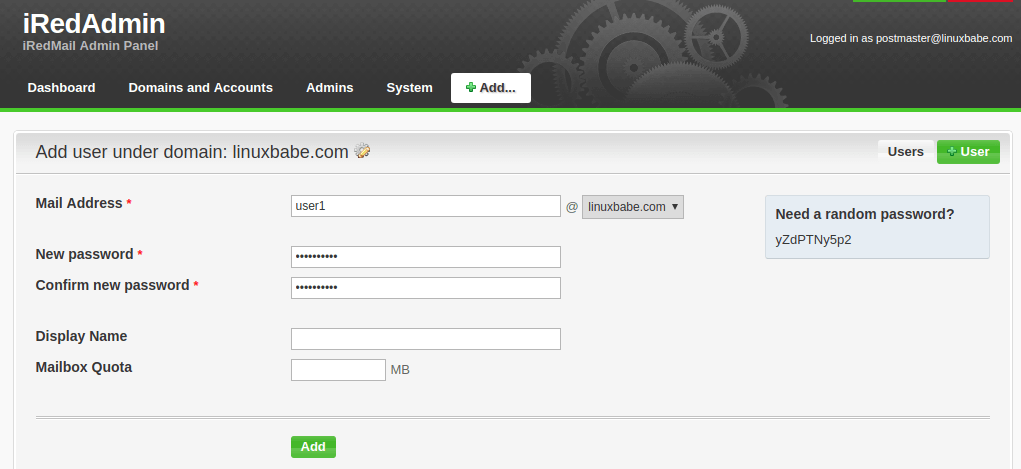 add email addresses in iredadmin