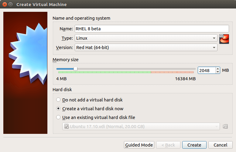 create a virtual machine for rhel8