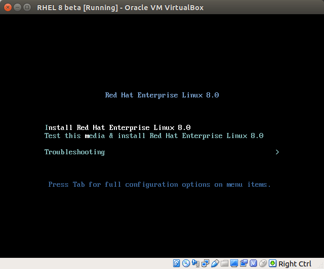 install red hat enterprise linux 8 in virtualbox