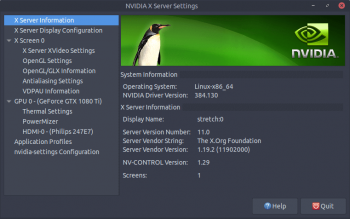 nvidia graphics driver debian stretch