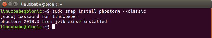 phpstorm ubuntu 18.04 snap