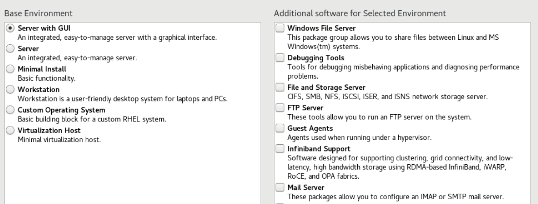 rhel 8 software selection