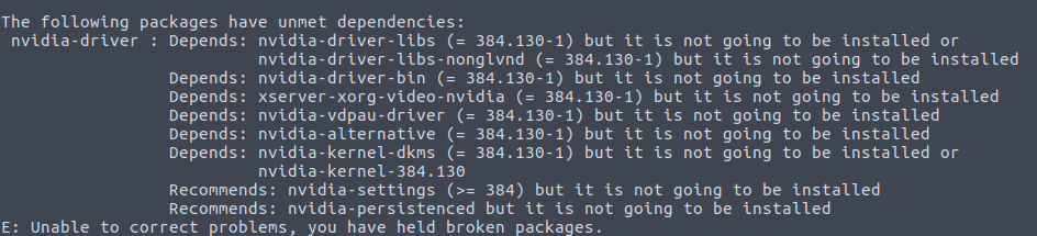 the following packages have unmet dependencies