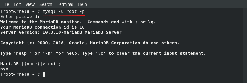 mariadb shell login