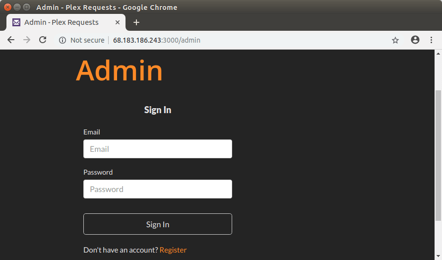 plex requests create admin account