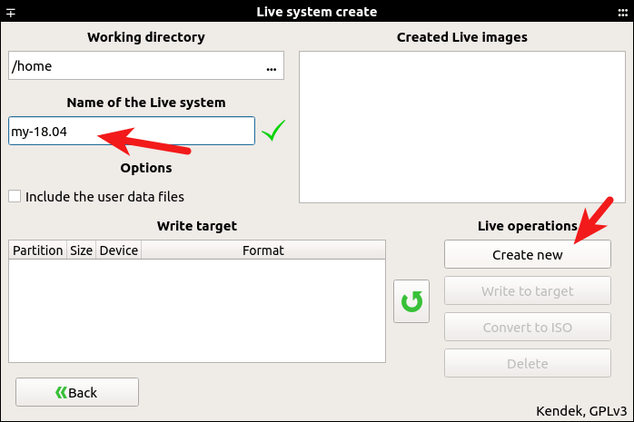 systemback create live iso