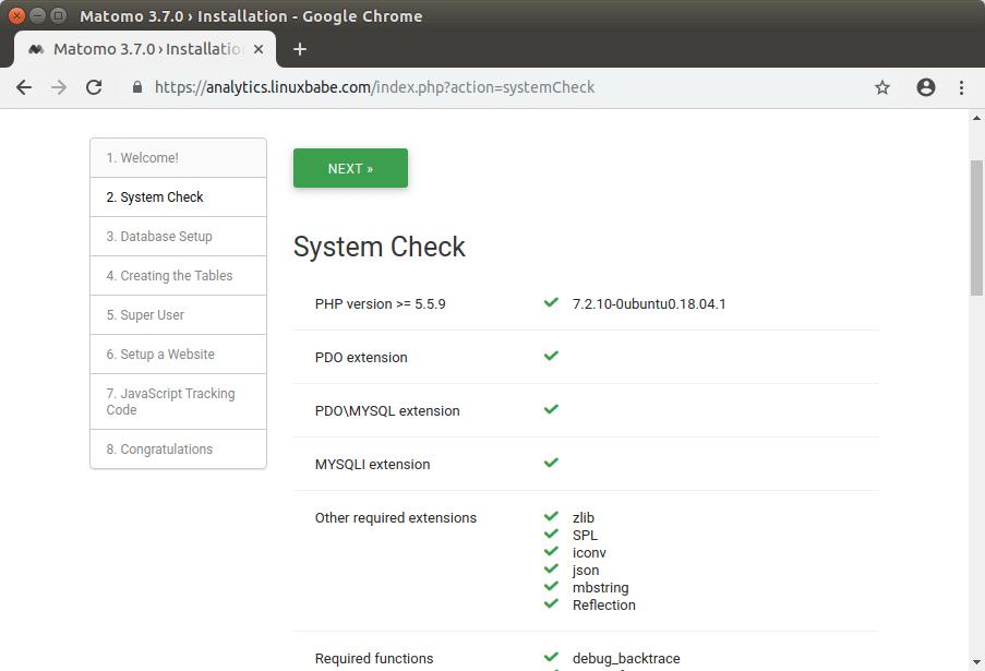 matomo ubuntu php extensions