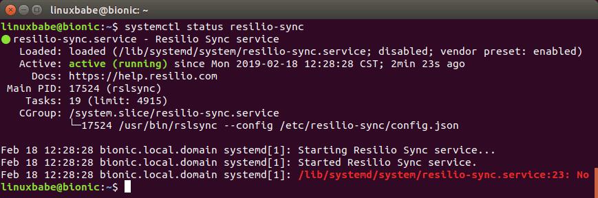 resilio sync linux web