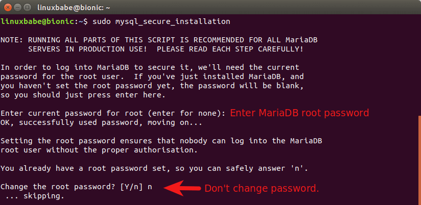 mariadb secure installation