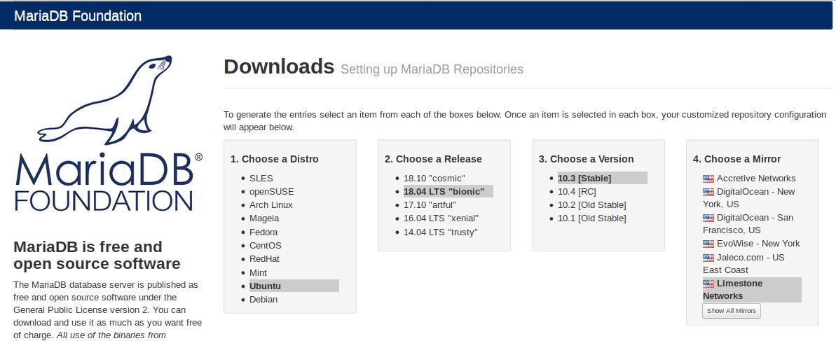 mariadb ubuntu 18.04 repository