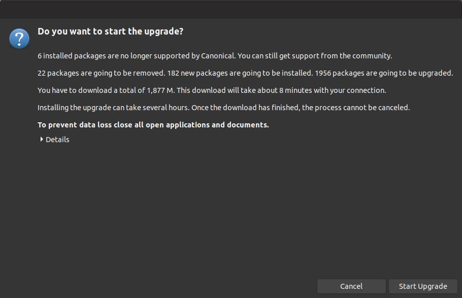 start upgrade