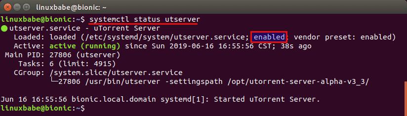 auto-start-utorrent-server-ubuntu-18.04