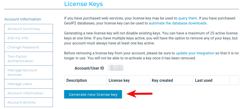 maxmind generate new license key