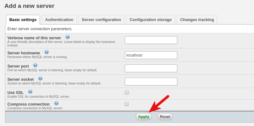 add a new server in phpmyadmin