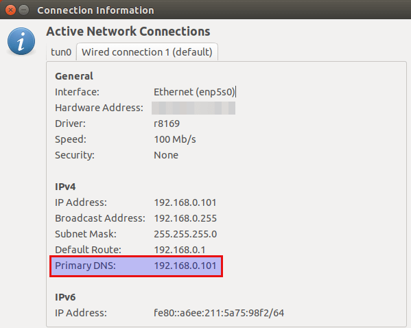 change dns server on linux