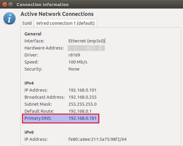 change dns server on linux