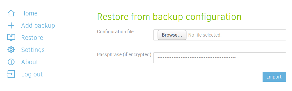 Restore from backup configuration