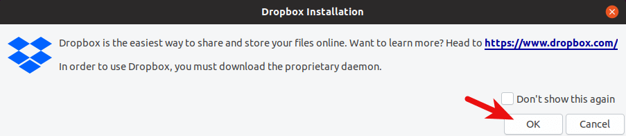 dropbox installation
