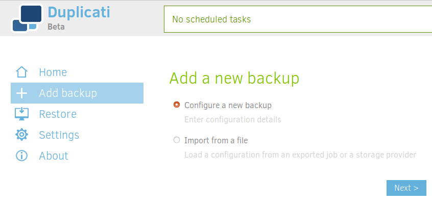 duplicati configure a new backup