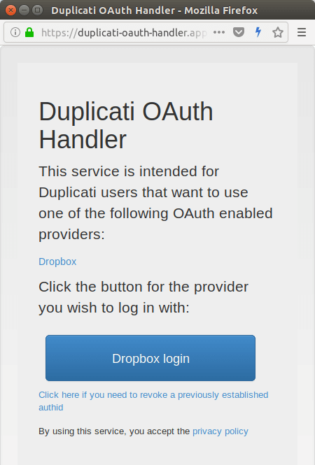 duplicati dropbox Oauth