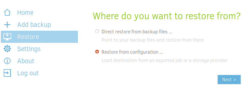 duplicati restore