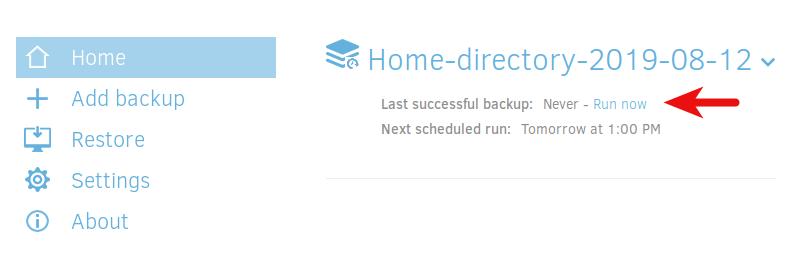 duplicati run backup