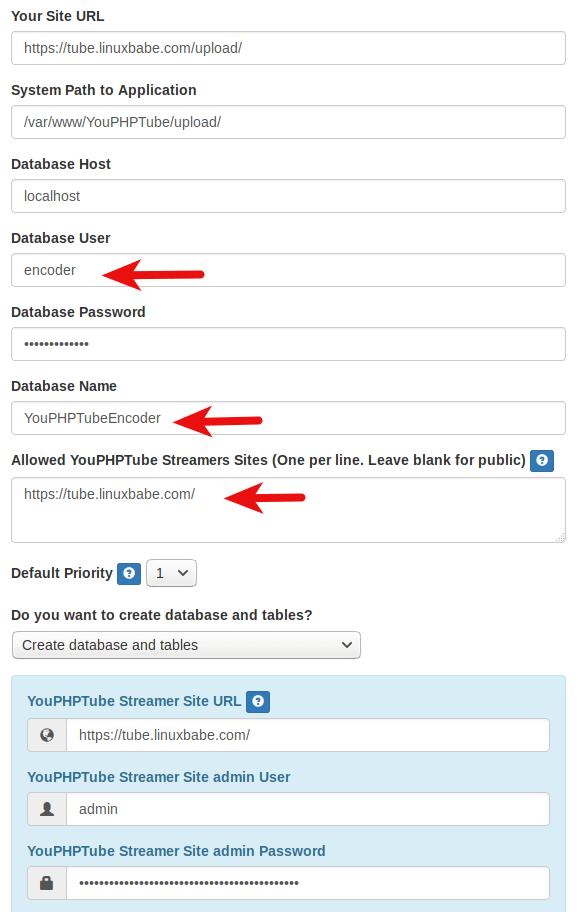 youphptube encoder setup wizard database