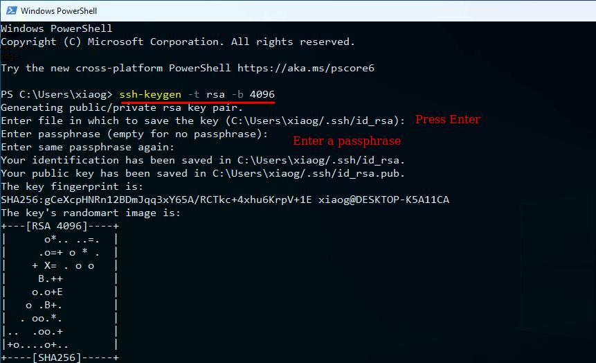 ssh key windows