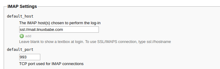 roundcube imap settings