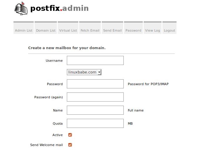 postfixadmin add mailbox