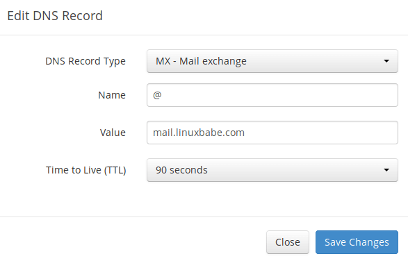 mail server DNS MX record