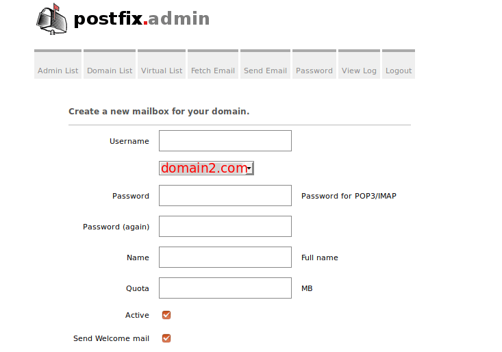 postfixadmin add new mailbox