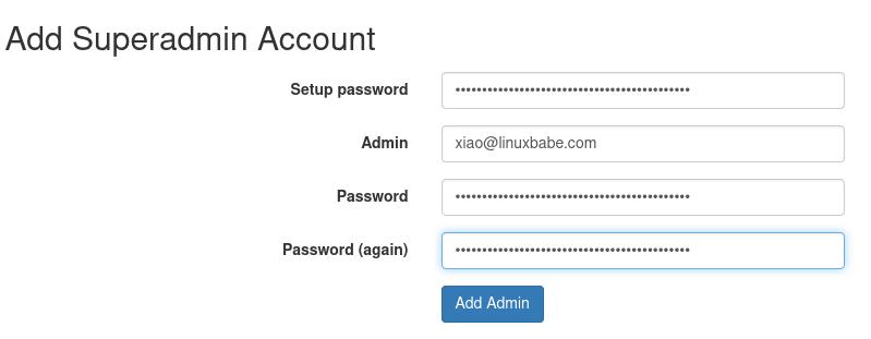 postfixadmin create superadmin account
