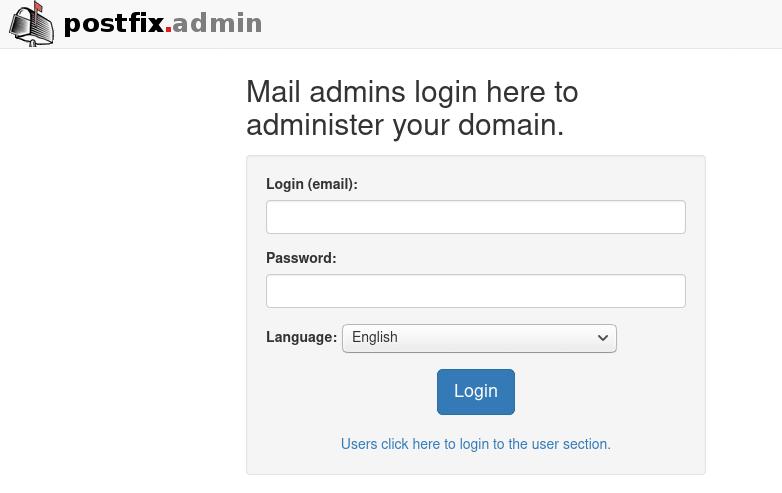 postfixadmin virtual mailbox domains login