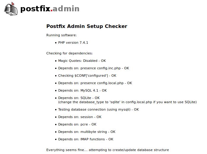 postfixadmin web-based install wizard