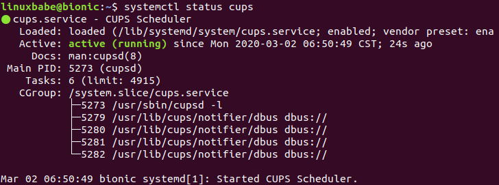 cups printing system ubuntu