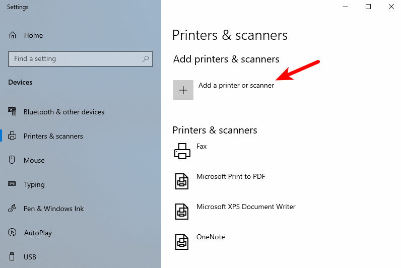windows 10 printers & scanners