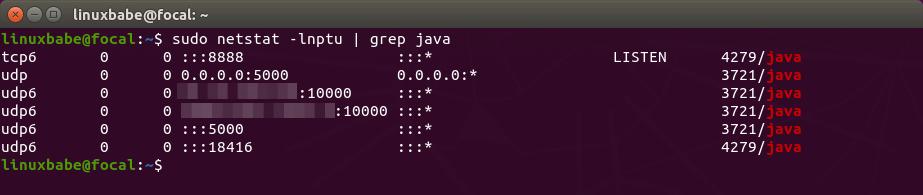 Jitsi Meet Ubuntu 20.04 listening ports