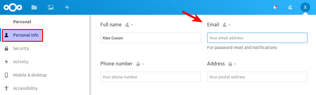 nextcloud email address
