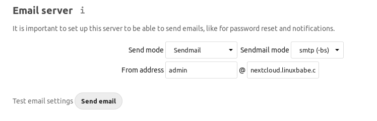 nextcloud email server send mode sendmail