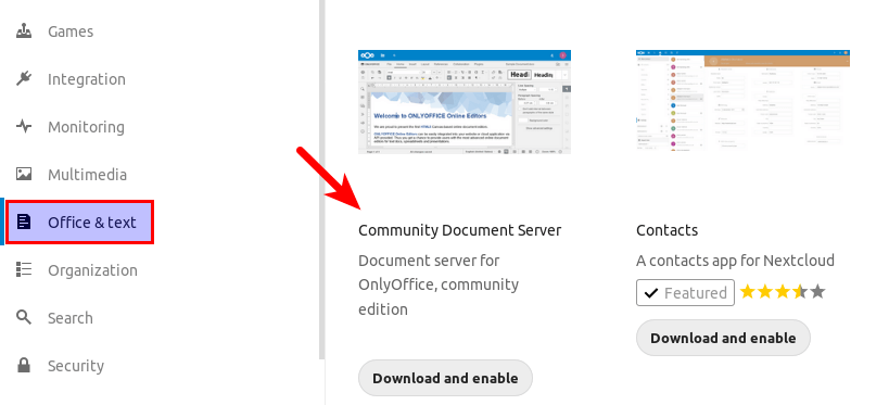 nextcloud onlyoffice community document server
