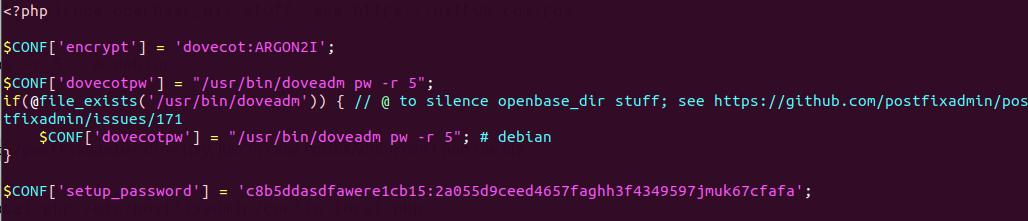 postfixadmin setup password