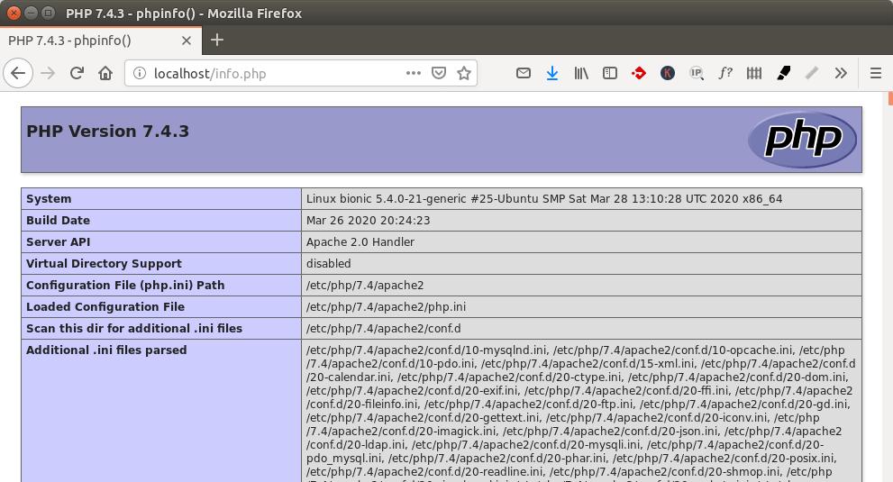 ubuntu 20.04 LAMP PHP7.4