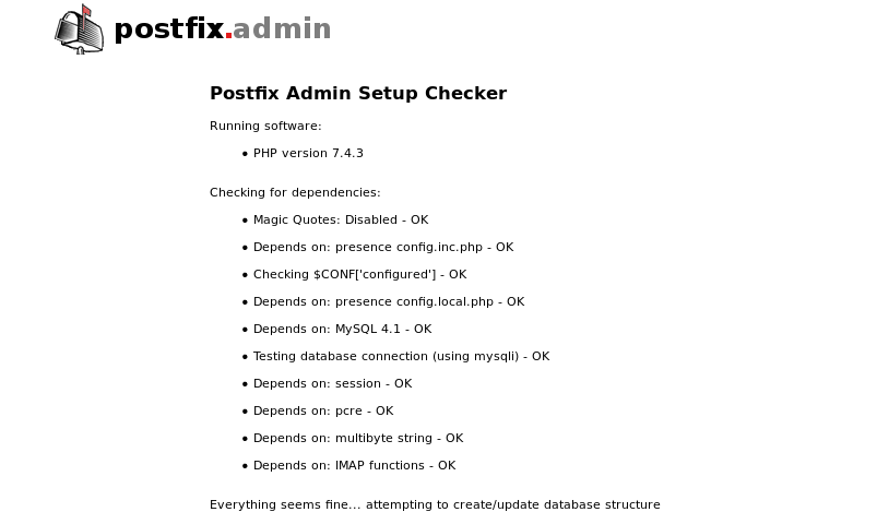 ubuntu 20.04 postfixadmin setup checker