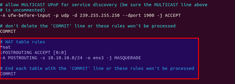 ufw masquerade rule ocserv ubuntu