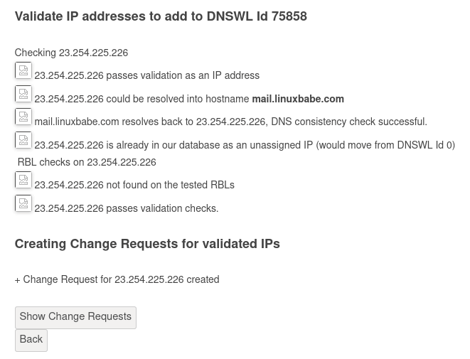IP addresses and netranges for DNSWL