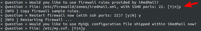 centos 8 iredmail firewall rules mysql config