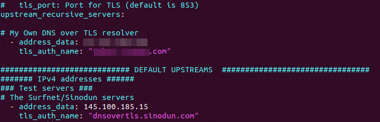 configure stubby to use dns over tls resolver